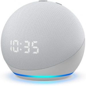 Amazon Echo Dot (4th Gen) Smart Speaker with Alexa & Clock – Glacier White-53-023503